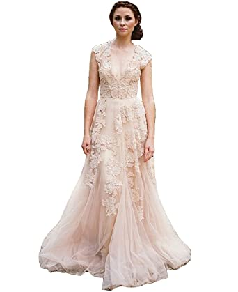 Ruisha Cap Sleeve Deep V Neck Lace Bridal Gowns Champagne Lace ...