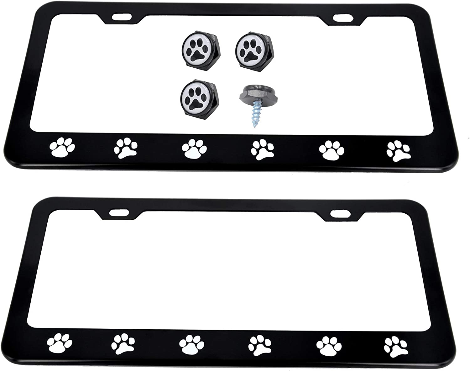 Pack of 2 CUTEQUEEN 2pcs Black License Plate Frame paw Print with 4 paw Print Black Fasteners Black paw White Base