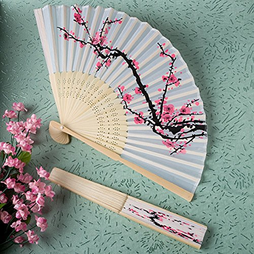 Delicate Cherry Blossom Design Silk Folding Fan Favors, 1]()