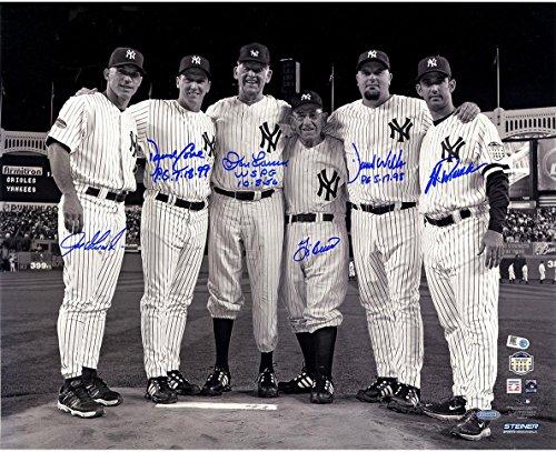 MLB New York Yankees Perfect Game Battery Mates Signed Metallic B/W 16x20 Photo