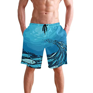 a95bf18db8 JTKPE Men's Swim Trunks Beach Shorts School of Fishes Board Shorts ...