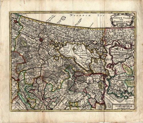 Antique Map-Netherlands-SOUTH HOLLAND-GOUDA-AMSTERDAM-LEIDEN-De Leth-1740