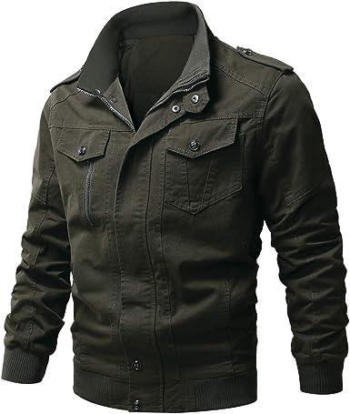 Wulful Men S Cotton Military Jackets Casual Outdoor Coat Windbreaker Jacket At Amazon Men S Clothing Store