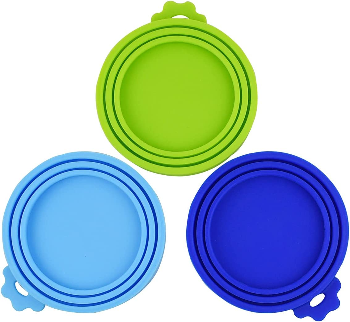 yuntop 3 Pack Pet Food Can Silicone Covers Food Universal Size Lids for Cat & Dog Food Can Cover with 3 Lid Tops One fit 3 Standard Size Cat Lid Cover Pet Food Cap Bpa Free Dishwasher Safe
