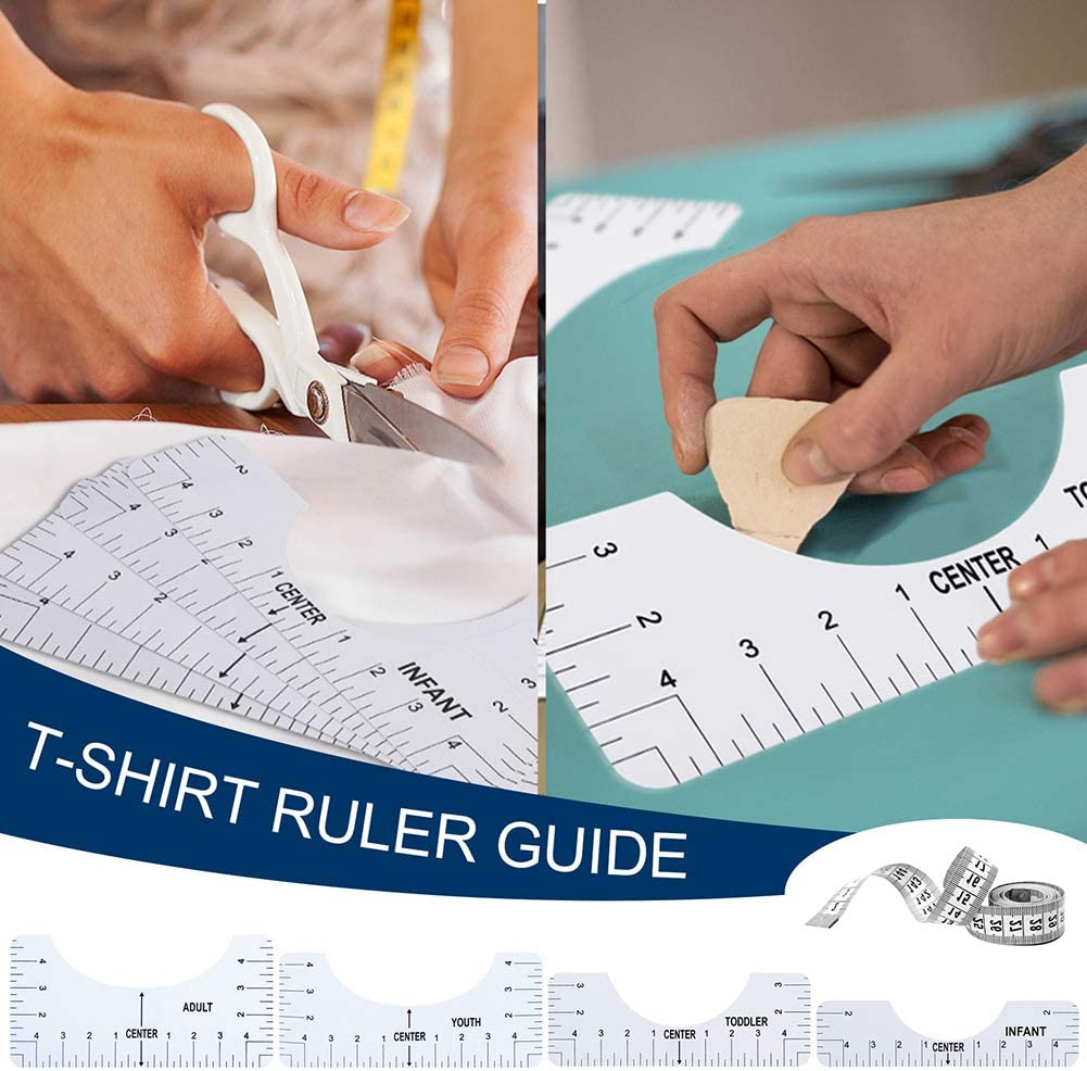 Toddler Infant. Center Design Rulers Tool with Size Chart for Adult 4PCS T-Shirt Alignment Ruler Set with 1 Measuring Ruler T-Shirt Ruler Guide for Applying Vinyl /& Sublimation Youth