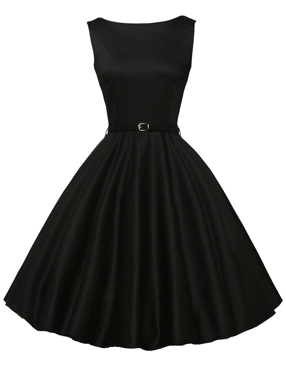 50's Vintage Dresses for Women with Belt Black Size L F-13 by GRACE KARIN