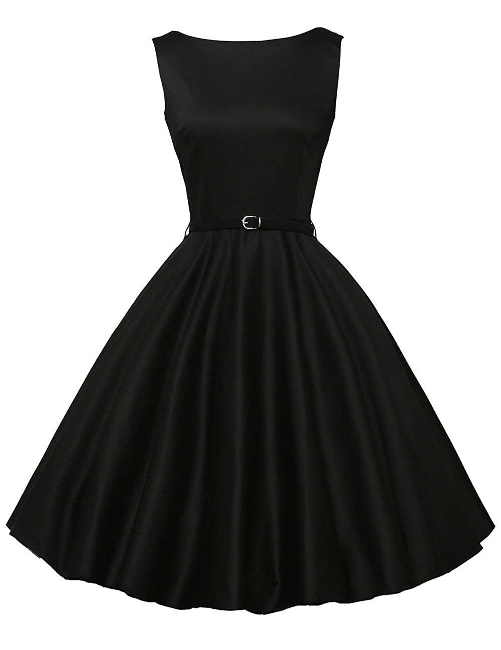 1950s Swing Dresses | 50s Swing Dress GRACE KARIN Boatneck Sleeveless Vintage Tea Dress Belt $31.99 AT vintagedancer.com