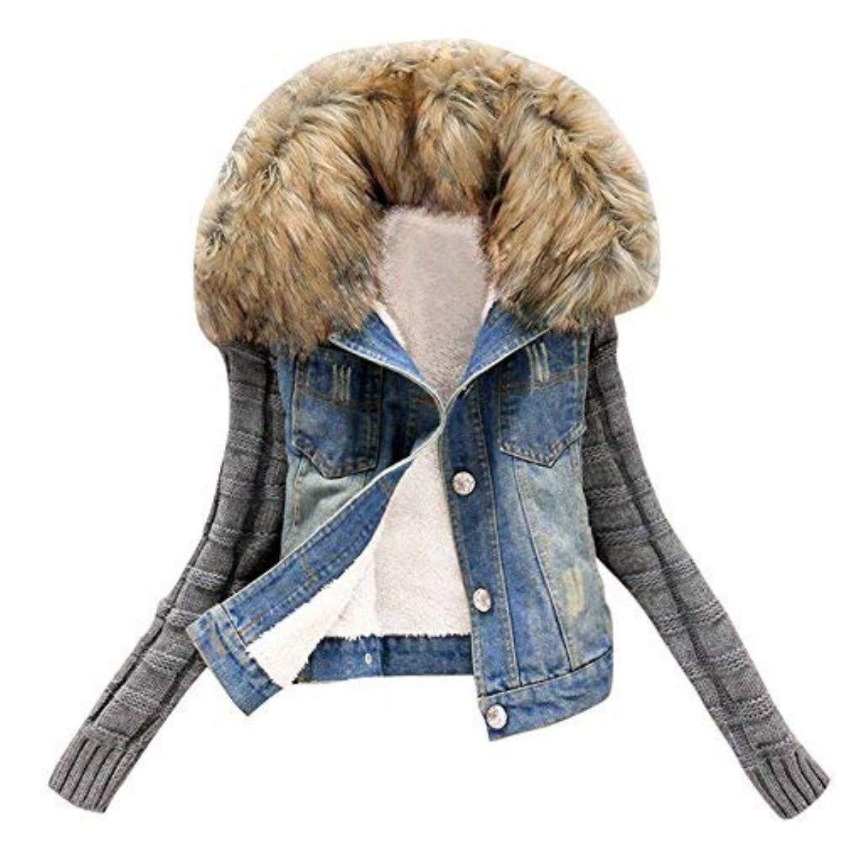 WuyiMC Faux Fur Hood Jacket Women Jeans Knit Sleeve Denim Coat