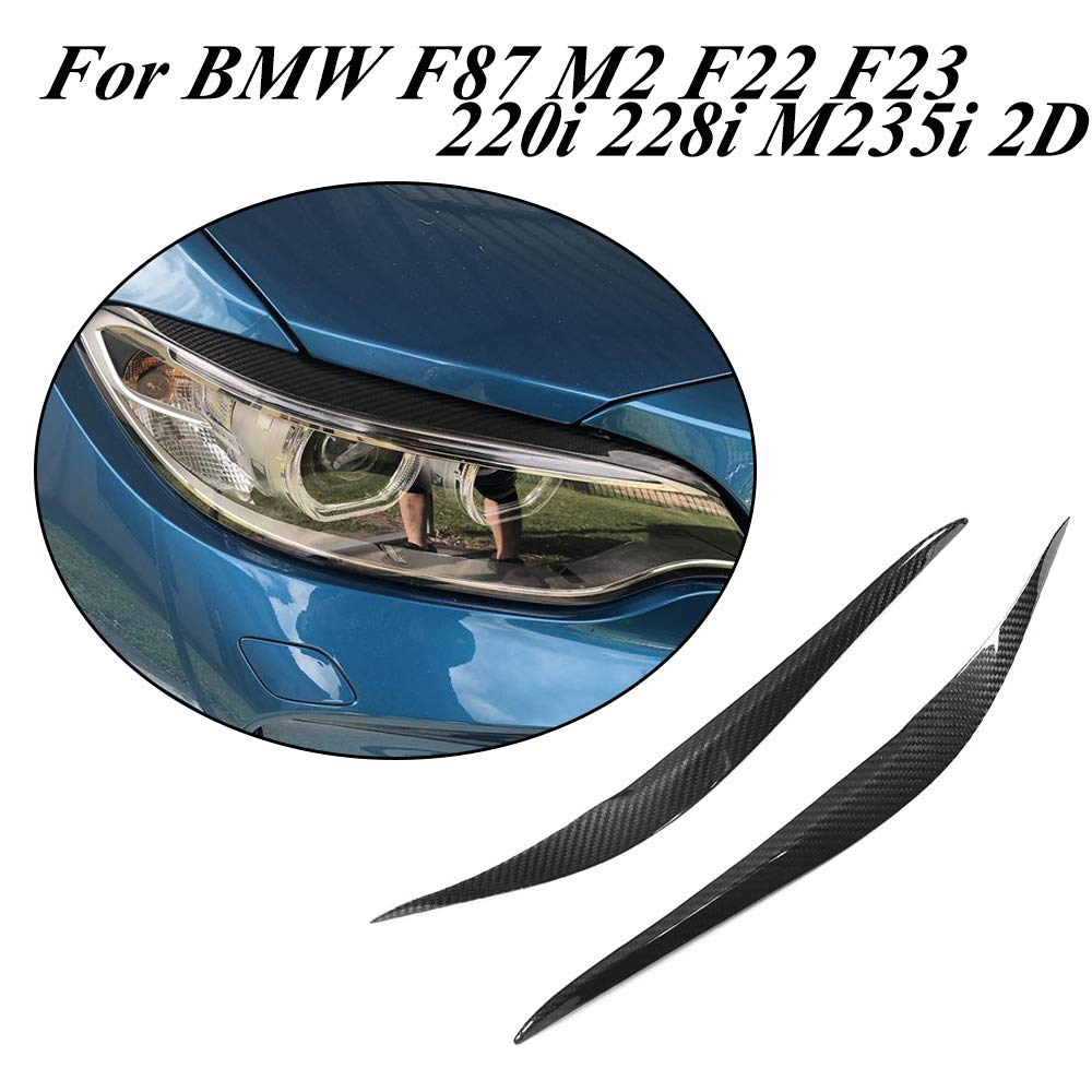 JCSPORTLINE Dry Carbon Fiber Front Head Light Covers Eyelids Eyebrows for F87 M2 F22 F23 220i 228i M235i M Sport Coupe Convertible 2014-2018