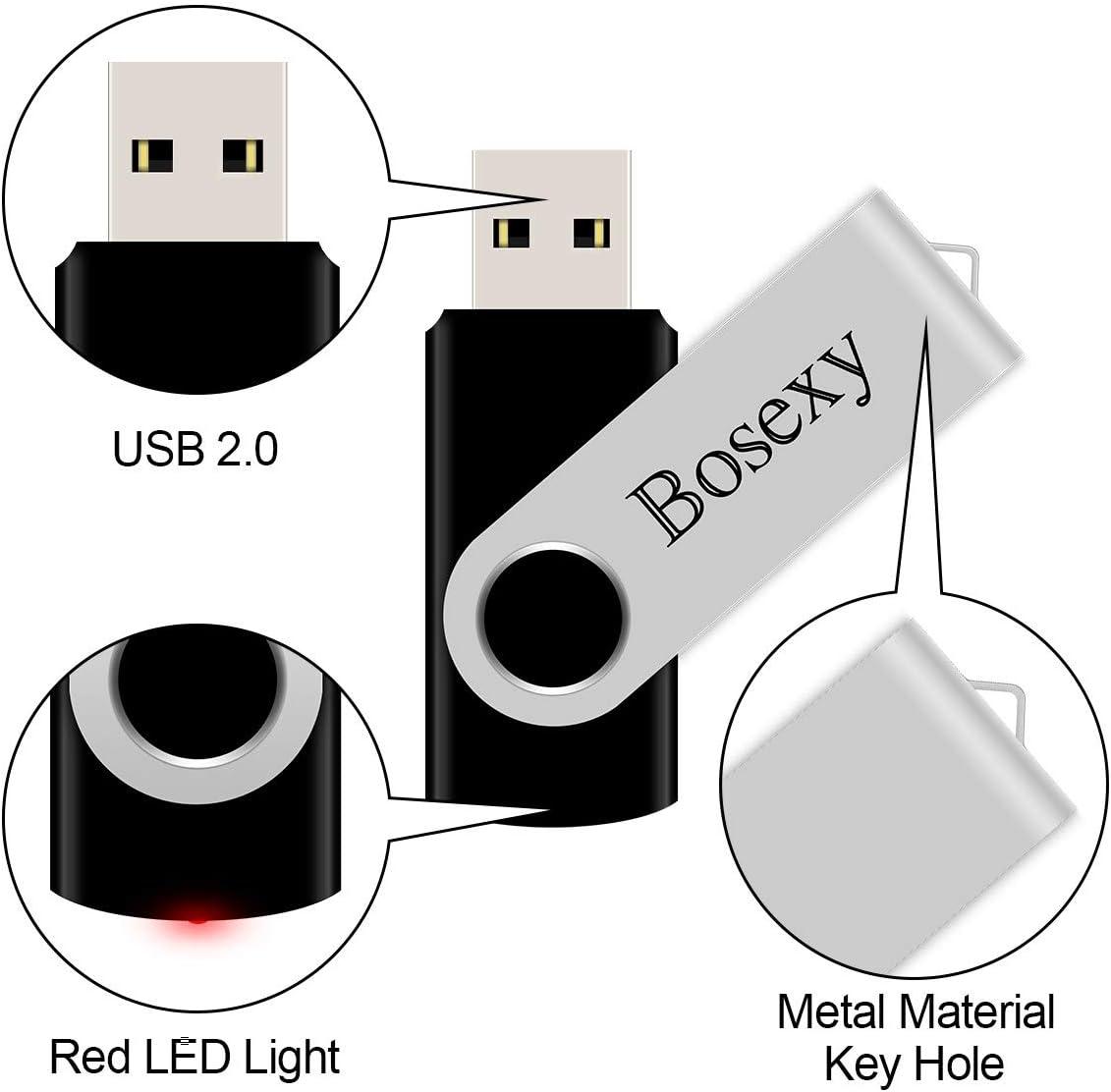 5PCS, 8GB Each, Mix Color 5 X 8GB USB Flash Drive Bosexy Thumb Drive Memory Stick Swivel Keychain Design with Led Indicator Black//Green//Red//Orange//Purple
