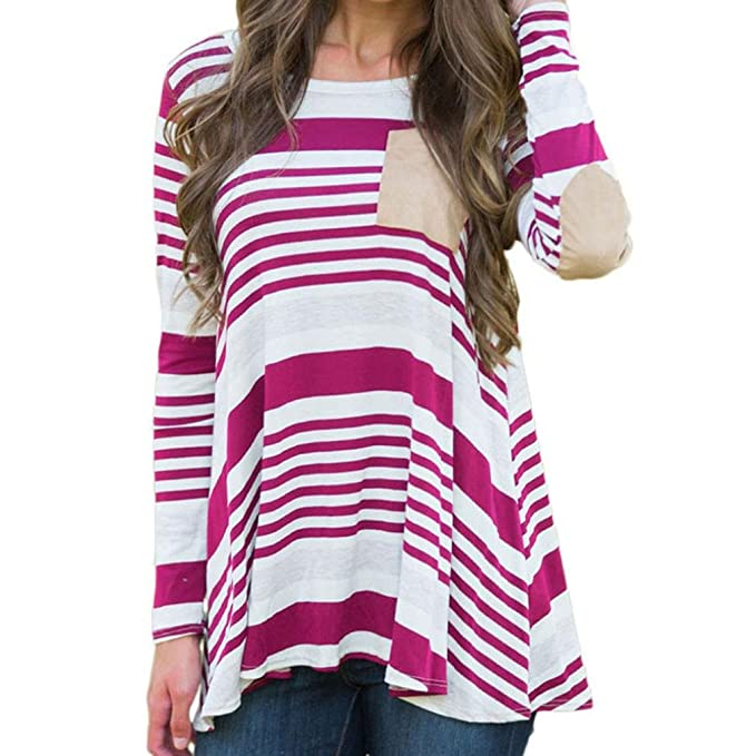 IMJONO Mujer Camisas Manga Larga Elegante Moda Rayas Round Collar Blusa T-shirt Tops otoño