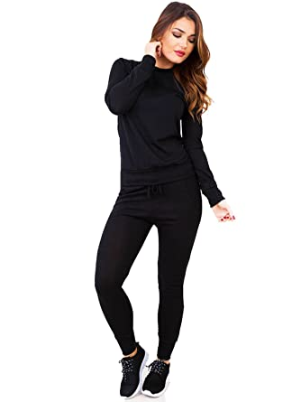 1ca06192dbfe Fashion New Women Ladies Grey Plain Loungewear Two Piece Set Sweatshirt Joggers  Tracksuit Pants 8-14 (8, Black): Amazon.co.uk: Clothing