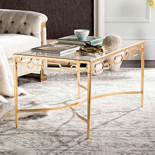 Safavieh Home Collection Lura Gold Leaf Retro Coffee Table