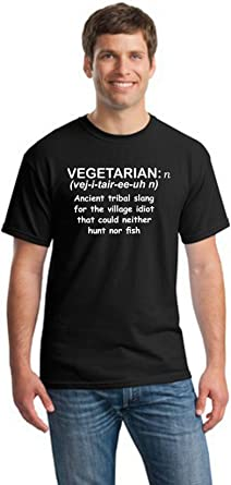 the village IDIOT Mens Funny T-Shirt /' Vegetarian Funny Tee /' Vegeterian