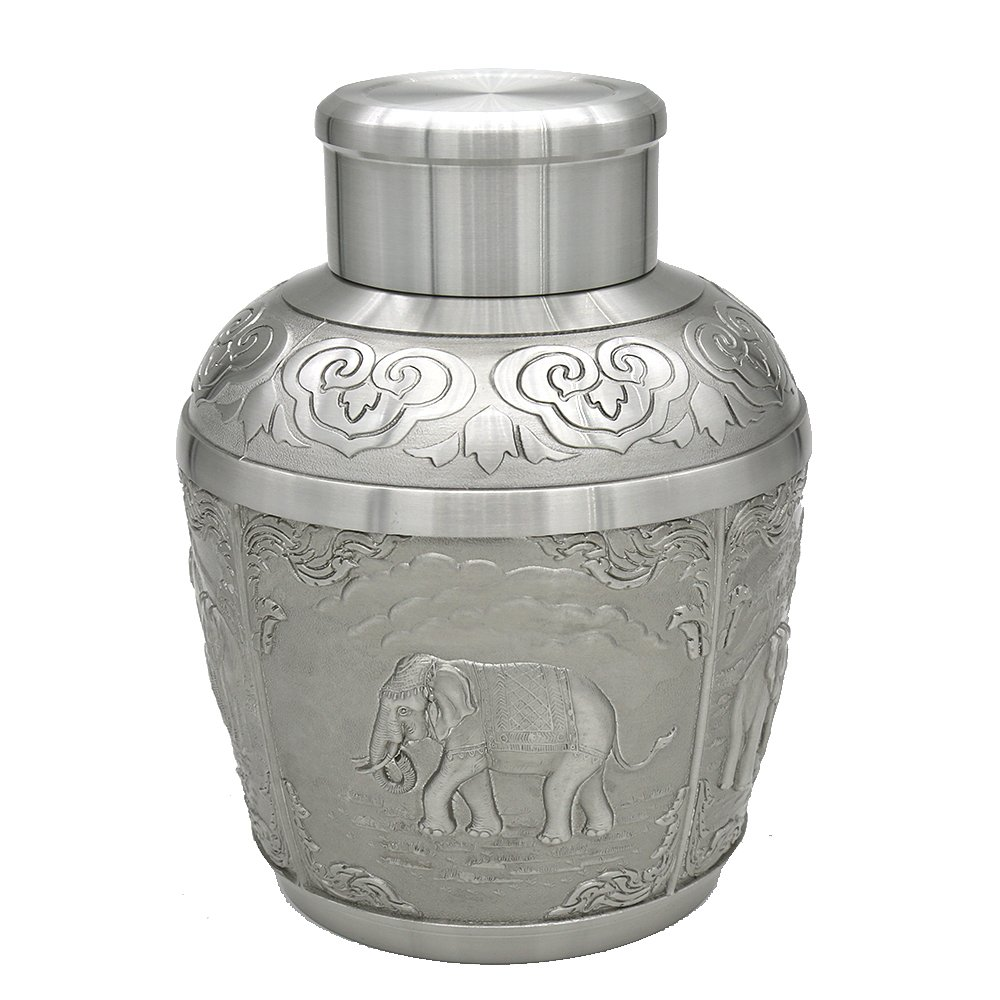 Oriental Pewter - Pewter Tea Storage, Caddy -TPCL5- Hand Carved Beautiful Embossed Pure Tin 97% Lead-Free Pewter Handmade in Thailand by Oriental Pewter