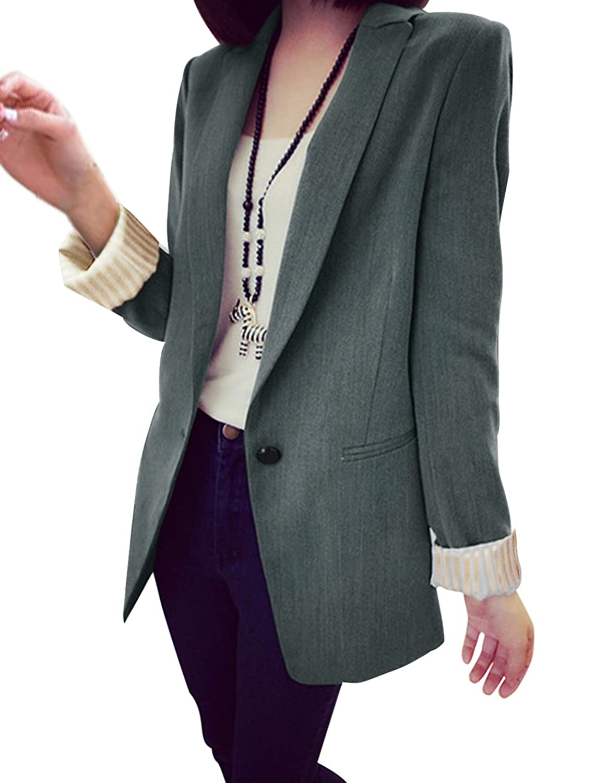 uxcell Lady Peaked Lapel Long Sleeve Two Pockets Front Fashion Jacket Ebony M at Amazon Womens Coats Shop