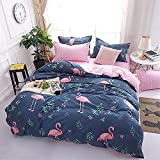 DOTBUY Bedding Sets, 3pcs Elegant Lightweight Microfiber Duvet Cover Set Fiber Soft Zipper Pillowcase Protects and Covers your Comforter Duvet Insert (King -220x240cm, Flamingo)