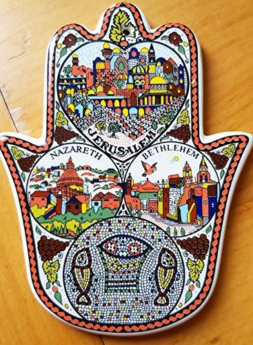 Home Blessing Hamsa Christian Ceramic Israeli Gift Nazareth Jerusalem Bethlehem ()