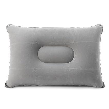 Yuuups Folding Flocking Air Inflatable Pillow Camping Travel Airplane Sleep Cushion Pad