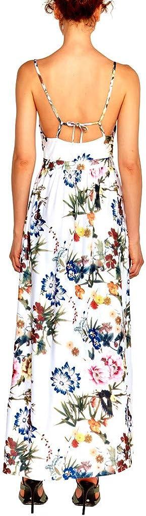 general3 Women Elegant Knitted Suspender Print Tourist Beach Open-Forked Loose Long Maxi Dress