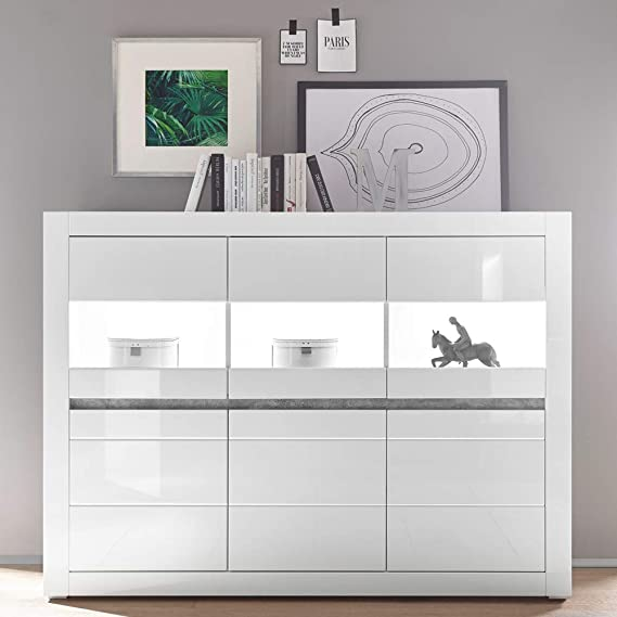 Lomadox Highboard In Weiss Hochglanz Inkl Led Mit