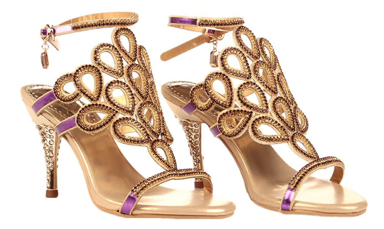 Amazon.com | Littleboutique High Quality Crystal Sandals Rosette Cutout Sandal Party Dress Sandal Heel | Heeled Sandals