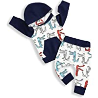Mailza Toddler Baby Boy Clothes Dinosaur Long Sleeve Hoodie Sweatshirt and Pant Outfits Set
