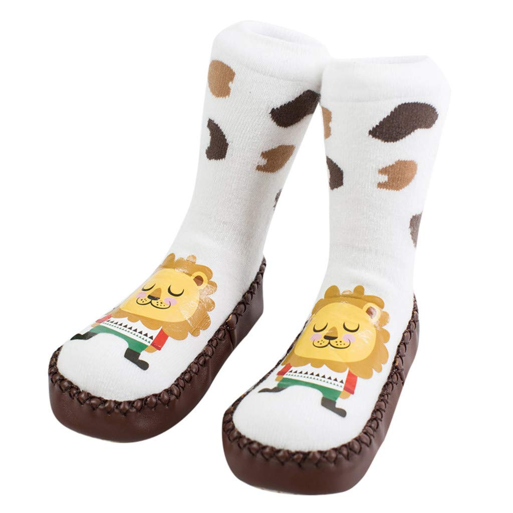 NUWFOR Newborn Baby Boy Girl Cartoon Xmas Floor Socks Anti-Slip Warm Baby Step Socks(White,18M-24Months)