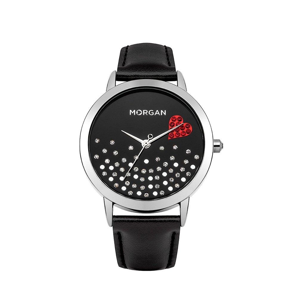 58d146cf13a0 Reloj Mujer Morgan y Pulsera cuero Negro Morgan - M1223B  Blue Pearls   Amazon.es  Relojes