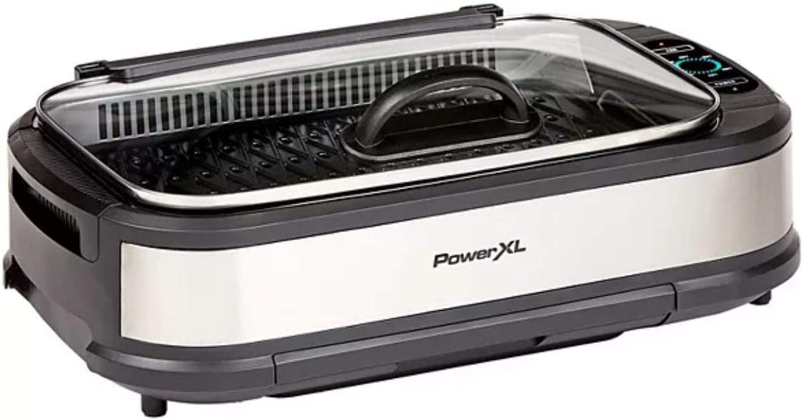 PowerXL Smokeless Grill with Tempered Glass Lid and Turbo Speed Smoke Extractor Technology. Make Tender Char-grilled Meals Inside With Virtually No Smoke (XL Family Sized Black)