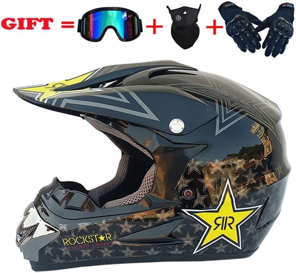 モトクロスデュアルスポーツヘルメット、防風D.O.T公認アダルトオートバイグローブゴーグルマスクコンボ全能のヘルメット4個セット、星、S、ブライトブラック、M,ブライトブラック、ラージ