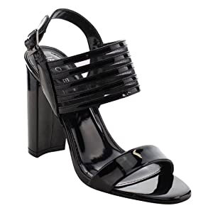 JACOBIES AF67 Women's Peep Toe Slingback Casual Heels Sandals, Color:BLACK, Size:10