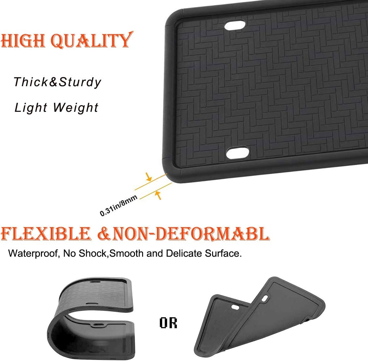 Weather-Proof Rattle-Proof 100/% Street Legal- Universal American Car Licenses Plate Covers. Car License Plate Frame License Plate Frame 2Pcs Rust-Proof Silicone Car License Plate Frame black