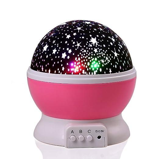 34 opinioni per lederTEK Luce notturna a LED con cavo USB, a batteria, motivo stelle, 4 LED, 360