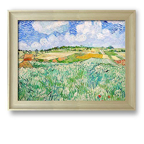 Plain near Auvers by Vincent Van Gogh Framed Art Print Famous Painting Wall Decor Natural Wood Finish Frame