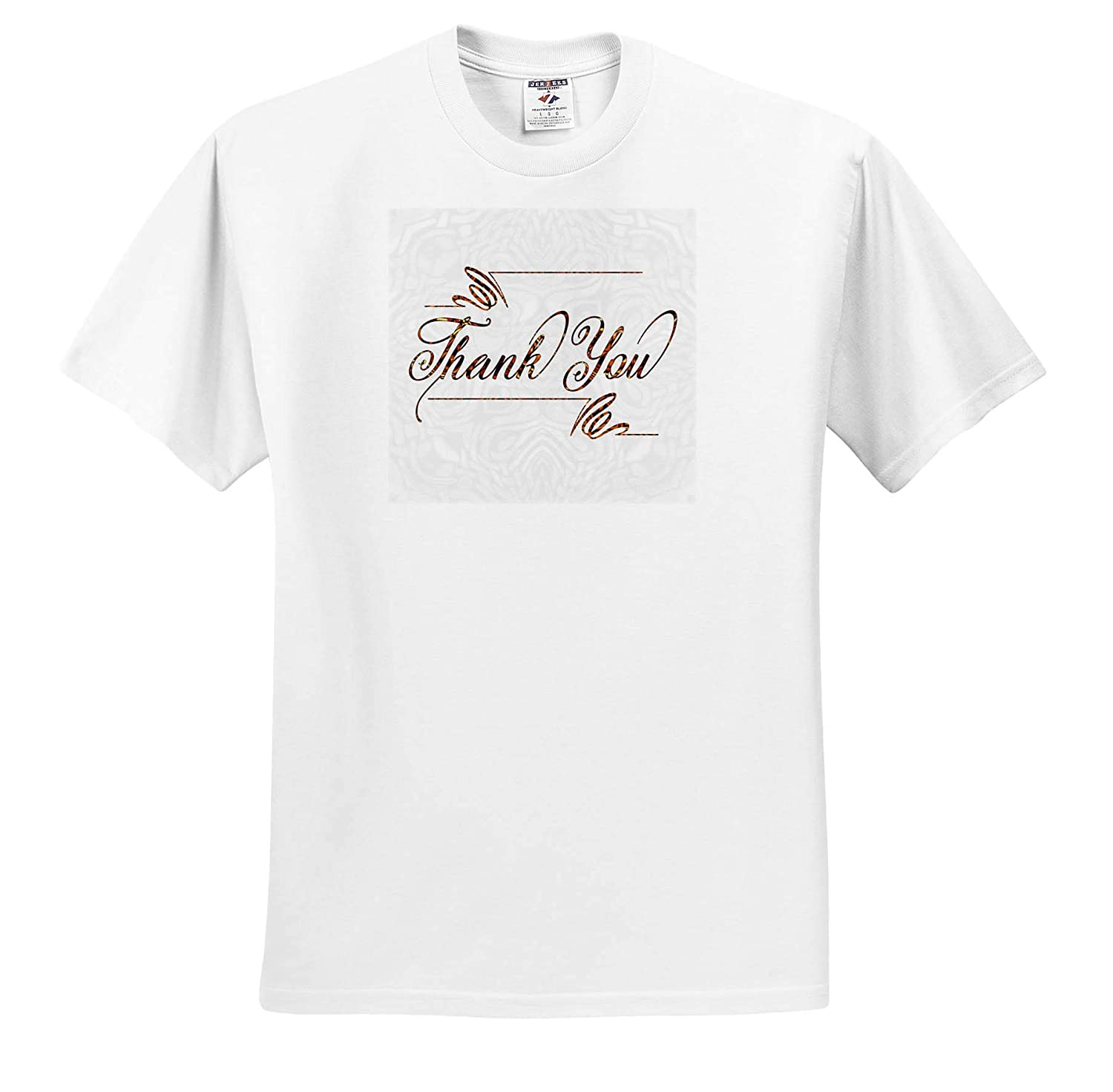 Adult T-Shirt XL 3dRose Doreen Erhardt Sentiments ts/_319575 Bold Thank You Typography in Shades of Brown Tribal Pattern