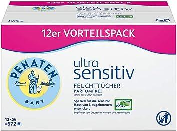 Penaten Ultra Sensitiv Feuchttucher parfumfrei ohne Alkohol und 18er Pack