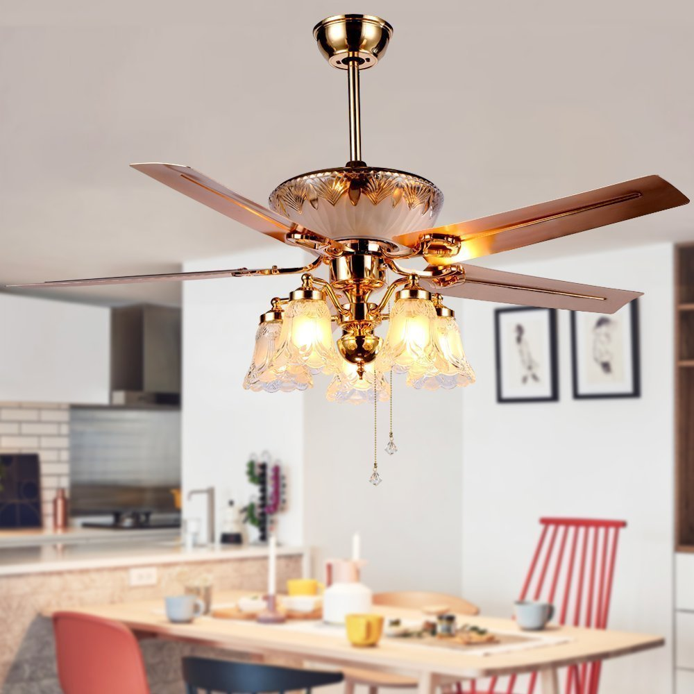 RainierLight Modern Ceiling Fan Remote Control 5 Reversible Blades 5 Frosted Glass Cover for Indoor Bedroom Living Room LED Fan Chandelier Mute Fan 52 Inch 52 Inch
