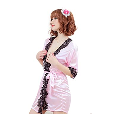 Gemini mall® Women Sexy Nightwear Sheer Dressing Gown Robe Kimono Sleepwear  Lingerie Pink  Amazon.co.uk  Clothing 7c4576959