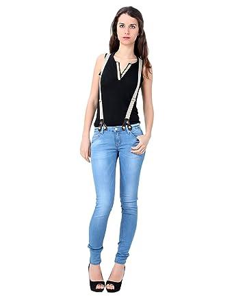 Miss Coquines Jean Slim Avec Bretelles Femme Jeans 40 Bleu