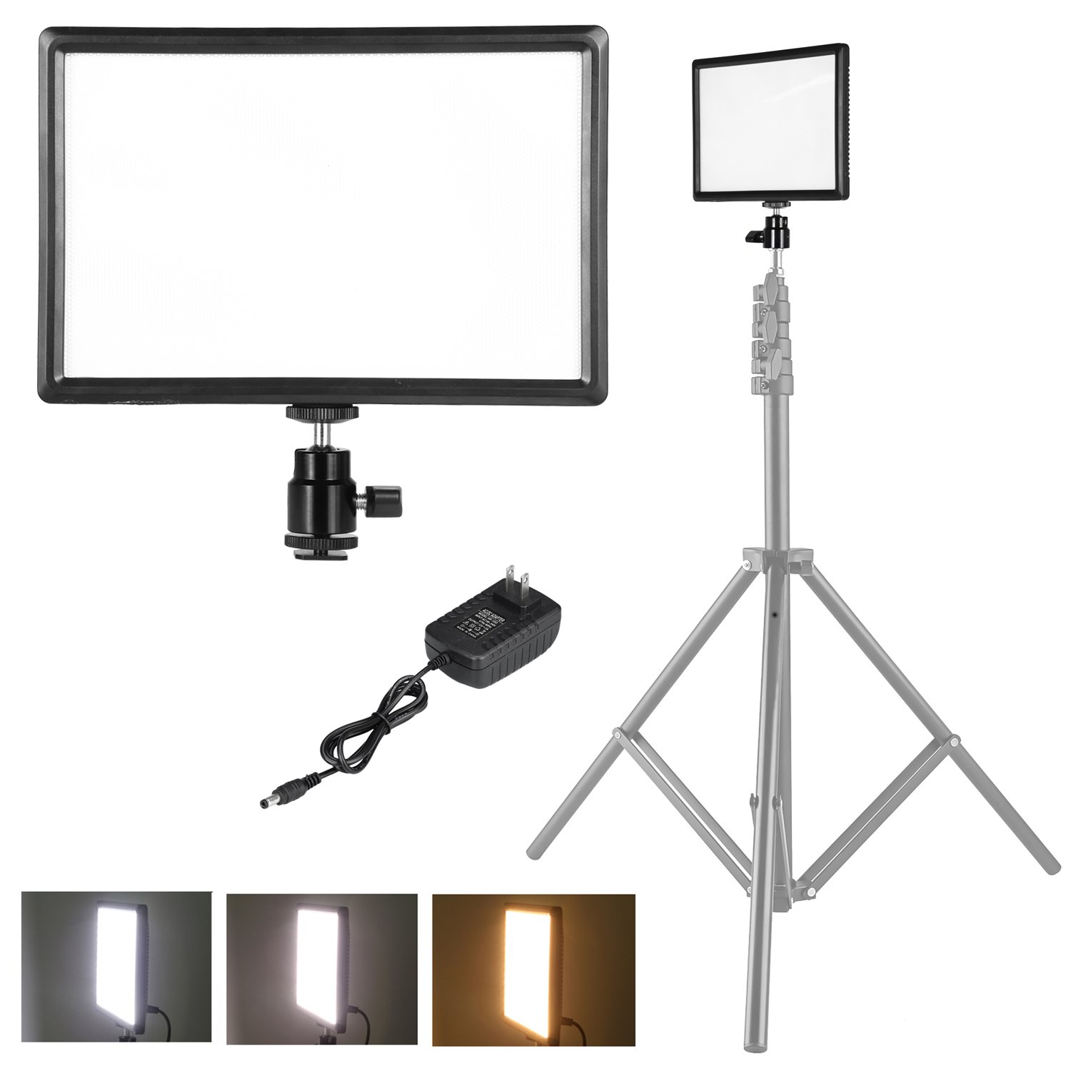 pangshi Ultra-Thin LED Video Light Panel with Hot Shoe Mount Compatible with Canon Nikon Sony DSLR Camera Camcorder, Dimmable Color Temperature 3200K-6200K and Brightness 10%-100%
