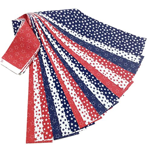 Patriotic Jelly Roll 18 Quilting Fabric Strips Red White Blue Stars 2.5 x 43-inch Precut by MDG