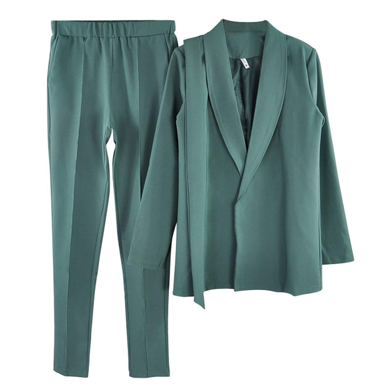 Beans Green rainwaterShop Stylish Office Lady Sets Pant Suits Shawl Collar Belted Blazer Jacket and Pant