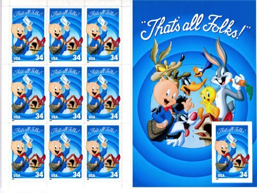 USPS Looney Tunes Porky Pig Sheet of Ten 34 Cent Stamps Scott 3534