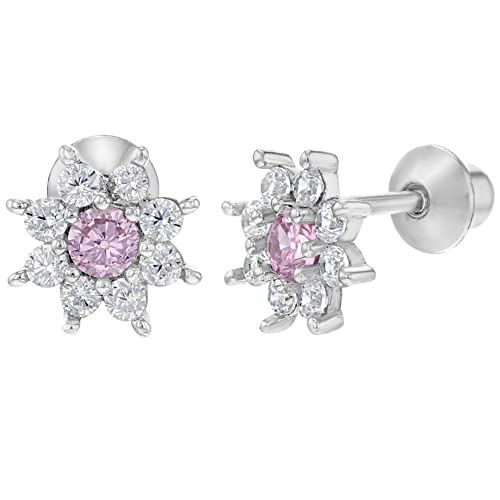 215685913 Image Unavailable. Image not available for. Color: 925 Sterling Silver Pink  Clear CZ Flower Screw Back Earrings for Girls Toddlers