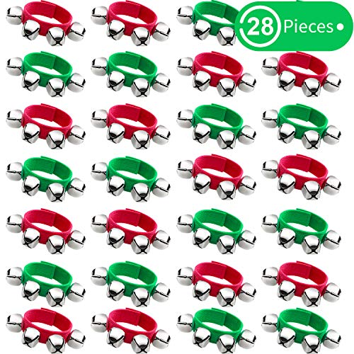 Band Wrist Bells Bracelets Jingle Musical Ankle Bells Rhythm Instrument Percussion Party Favors for Christmas School Children (28 Pieces, Red and Green)