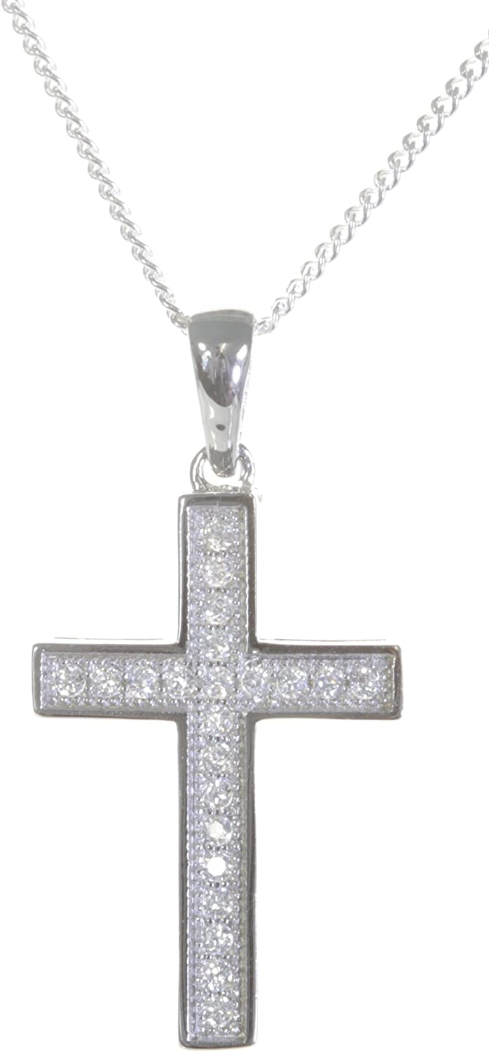 Chain with Cubic Zirconia//CZ Classical 925 Sterling Silver Women Cross Pendant 27mm13mm