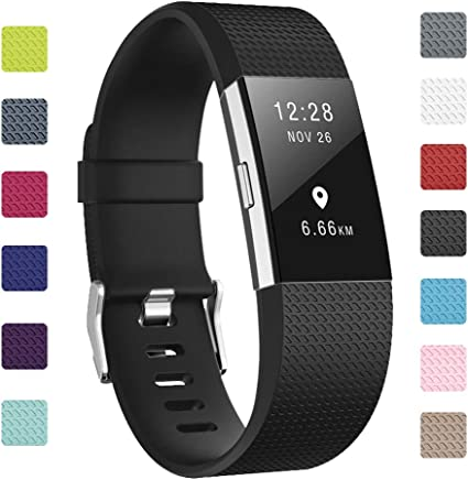 Soulen Bands Compatible for Fitbit Charge 2 12-Pack Classic Adjustable Replacement Band Wristbands Large Small Band with Secure Metal Clasp for Fitbit Charge 2 Suitable