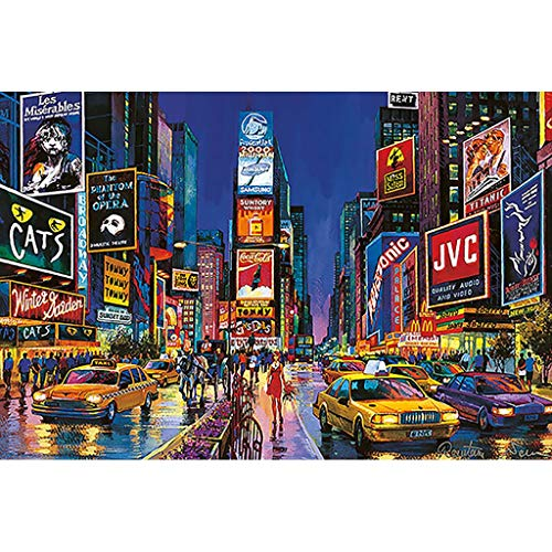 Mini Fun ZILIN World ⏰PT Night of Time Square, Wooden Jigsaw Puzzle, New York Street View, Fine Cut & Fit Classic 300pc Boxed Toys Game for Adults & Kids (Color : A) from Mini Fun ZILIN World