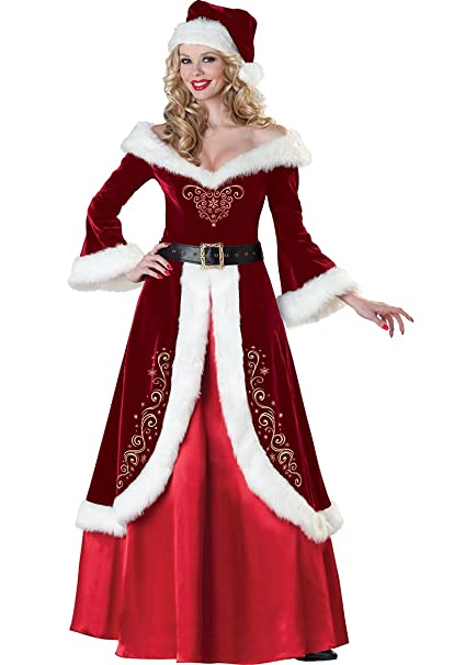 Amazon.com: cuteshower Deluxe Costume de la mujer Sra. Claus ...